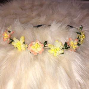 Women's Yellow/Pink Floral Headband